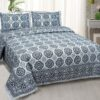 Kora Blue Flowery with Circle Design Super Fine Cotton Bed Sheet