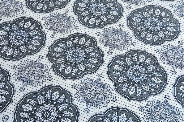 Kora Blue Flowery with Circle Design Super Fine Cotton Bed Sheet Design