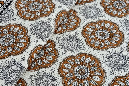 Kora Golden Flowery with Circle Design Super Fine Cotton Bed Sheet Design