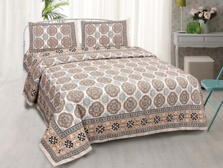 Kora Light Brown Flowery with Circle Design Super Fine Cotton Bed Sheet