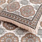 Kora Light Brown Flowery with Circle Design Super Fine Cotton Bed Sheet Closeup