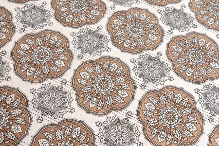 Kora Light Brown Flowery with Circle Design Super Fine Cotton Bed Sheet Design