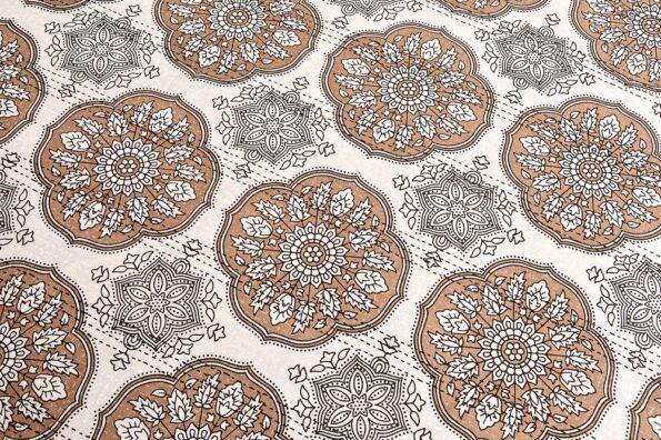 Kora Light Brown Flowery with Circle Design Super Fine Cotton Bed Sheet Design