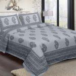 Light Blue Base With Kadi Print Blue Rajasthani Buta Hand Block Print Super Fine Cotton Double Bed Sheet