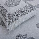 Light Blue Base With Kadi Print Blue Rajasthani Buta Hand Block Print Super Fine Cotton Double Bed Sheet Close up