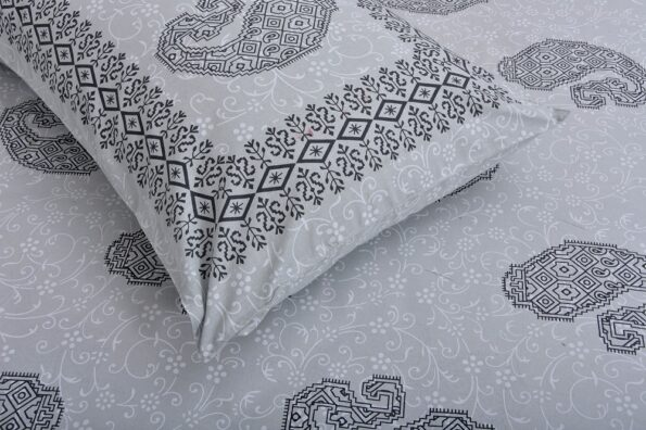 Light Blue Base With Kadi Print Blue Rajasthani Buta Hand Block Print Super Fine Cotton Double Bed Sheet Close up