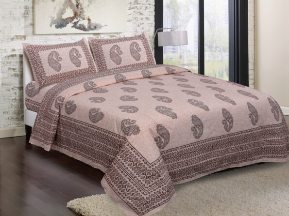 Light Pink Base With Kadi Print Red Rajasthani Buta Hand Block Print Super Fine Cotton Double Bed Sheet