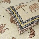 Molly Beautiful Elephant and Umbrella Print Double Bed Sheet Closeup