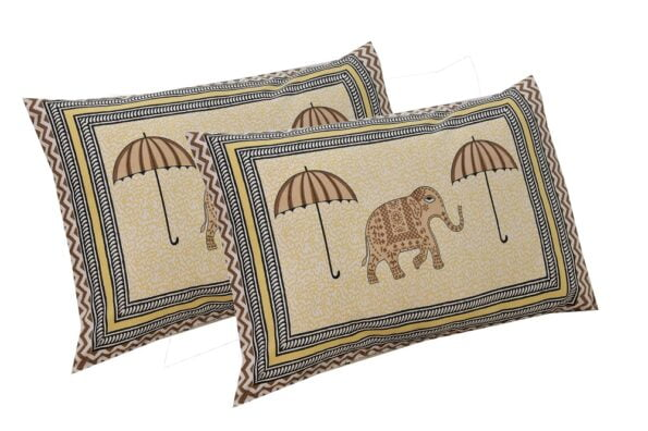 Molly Beautiful Elephant and Umbrella Print Double Bed Sheet Pillows