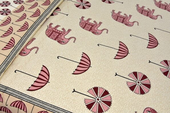 Molly Beautiful Pink Colour Elephant and Umbrella Print Double Bed Sheet Close up