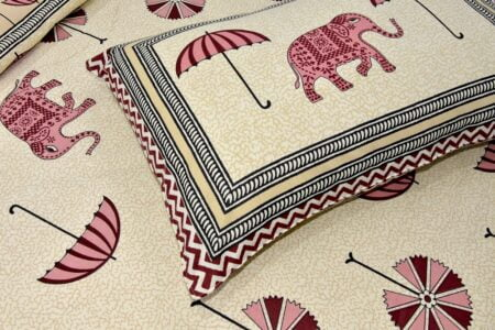 Molly Beautiful Pink Colour Elephant and Umbrella Print Double Bed Sheet Closeup