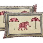 Molly Beautiful Pink Colour Elephant and Umbrella Print Double Bed Sheet Pillows