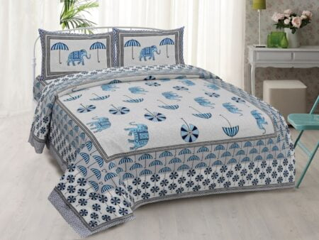 Molly Beautiful Sky Colour Elephant and Umbrella Print Double Bed Sheet