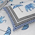 Molly Beautiful Sky Colour Elephant and Umbrella Print Double Bed Sheet Closeup
