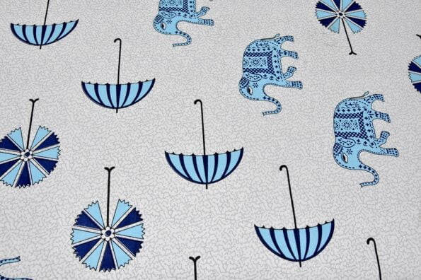 Molly Beautiful Sky Colour Elephant and Umbrella Print Double Bed Sheet Looks