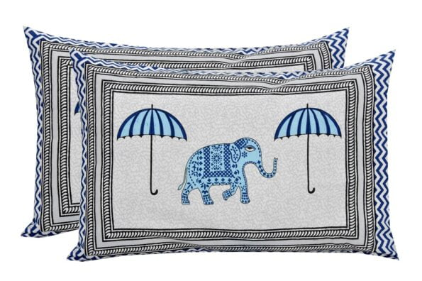 Molly Beautiful Sky Colour Elephant and Umbrella Print Double Bed Sheet Pillows