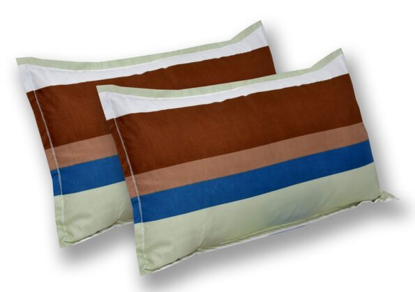 Multicolor Lining Poly Cotton Double Bedsheet Pillow Covers