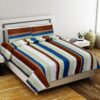 Multicolor Lining Poly Cotton Double Bedsheet with 2 Pillow Covers Set from Indian Fabrico
