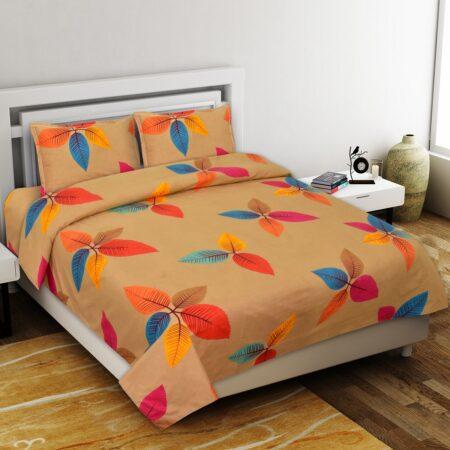Multicolor Petals Premium Poly Cotton Double Bedsheet with 2 Pillow Cover Set
