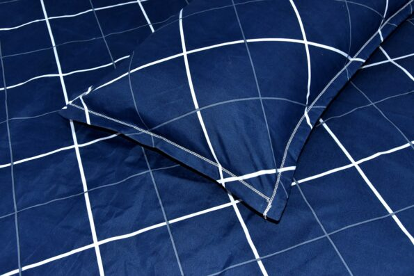 Navy Blue Color with Lining shape Poly Cotton Double Bed Sheet Closeup