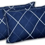 Navy Blue Color with Lining shape Poly Cotton Double Bed Sheet Pillow Covers