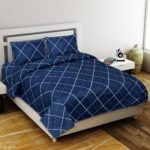Navy Blue Color with Lining shape Poly Cotton Double Bed Sheet with Pillow Cover Set