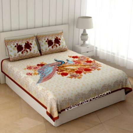 Peacock Garden Brown Border King Size Bedsheet