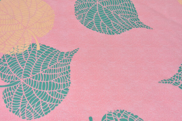 Pink Color Leaf Design Poly Cotton Double Bed Sheets Close Up