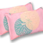 Pink Color Leaf Design Poly Cotton Double Bed Sheets Pillow Covers