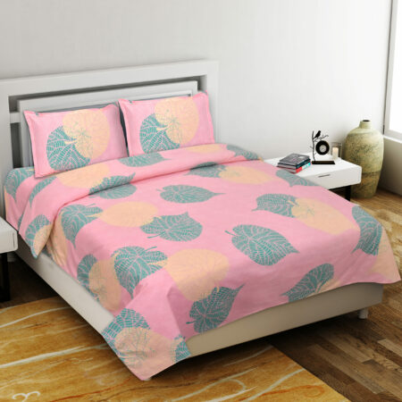 Pink Color Leaf Design Poly Cotton Double Bed Sheets with Pillow Cover Set