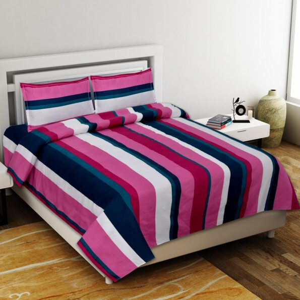 Pink Shade Lining Poly Cotton Double Bedsheet with 2 Pillow Covers Set from Indian Fabrico