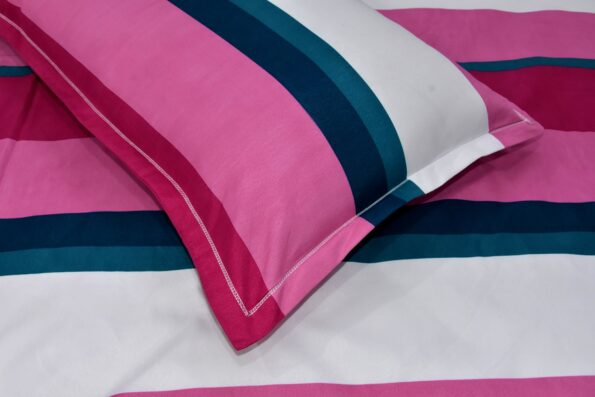 Pink Shade Lining Poly Double Bedsheet Closeup