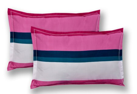 Pink Shade Lining Poly Double Bedsheet Pillow covers