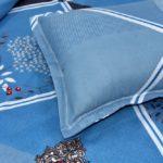 Refreshing Blue Poly Cotton Double Bedsheet Closeup