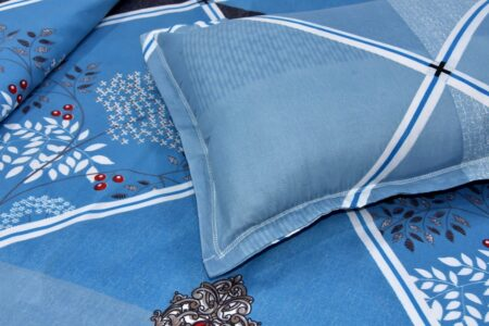 Refreshing Blue Poly Cotton Double Bedsheet Closeup