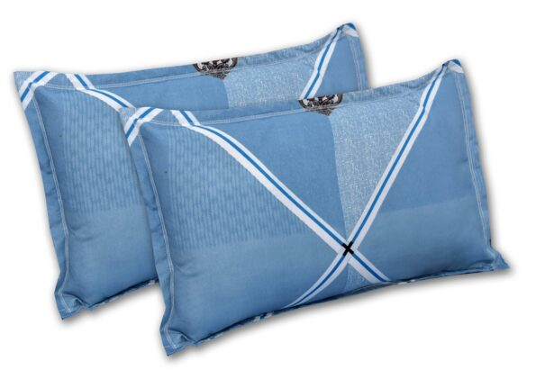 Refreshing Blue Poly Cotton Double Bedsheet Pillow Cover Set