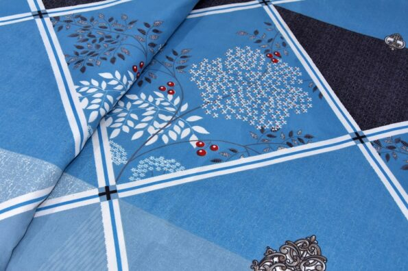 Refreshing Blue Poly Cotton Double Bedsheet look out