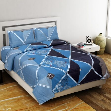 Refreshing Blue Poly Cotton Double Bedsheet with 2 Pillow Cover Set