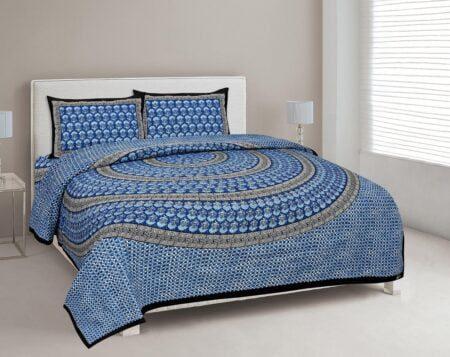 Saffron Blue Circle of Life Black Border Double Bed Sheet