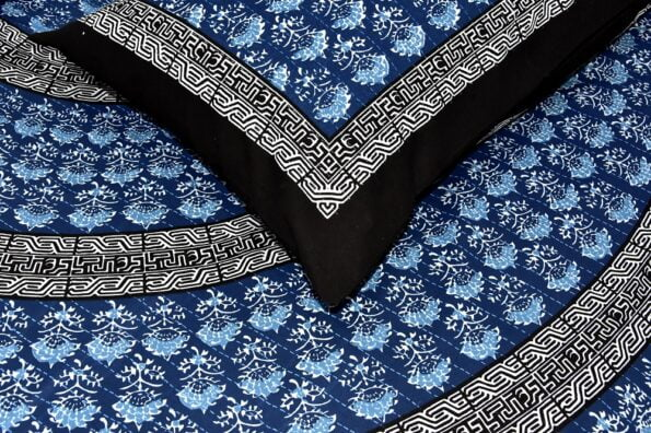 Saffron Blue Circle of Life Black Border Double Bed Sheet Closeup