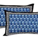 Saffron Blue Circle of Life Black Border Double Bed Sheet Pillow
