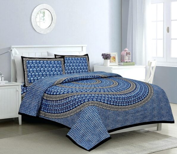 Saffron Blue Circle of Life Black Border Double Bed Sheets