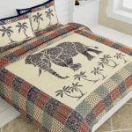 Saffron Elephant Print Beautiful Design Double Bed Sheet