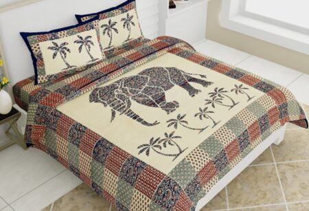 Saffron Elephant Print Beautiful Design Double Bed Sheet