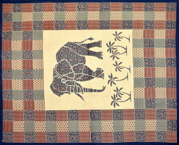 Saffron Elephant Print Beautiful Design Double Bed Sheet Closeup