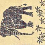 Saffron Elephant Print Beautiful Design Double Bed Sheet design