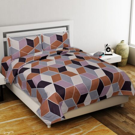 Seamless Softness Poly Cotton Double Bedsheet with 2 Pillow Cover Set
