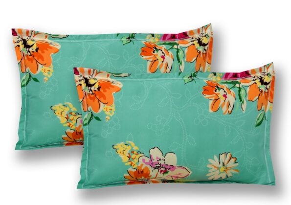 Smooth Floral Premium Poly Cotton Double Bedsheet Pillow Cover Set