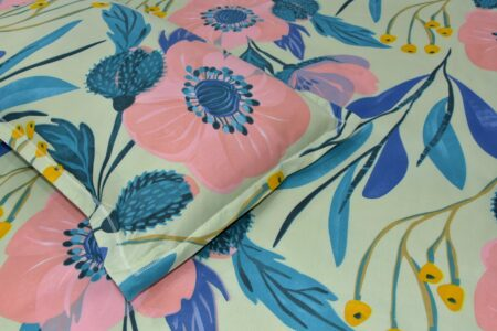 Soft Floral Poly Cotton Double Bedsheet Closeup