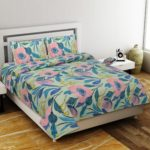 Soft Floral Poly Cotton Double Bedsheet with 2 Pillow Cover Set